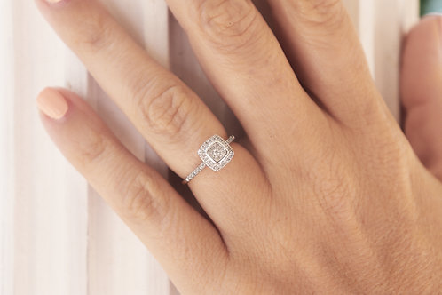 Composite Diamond Square Frame Engagement Ring