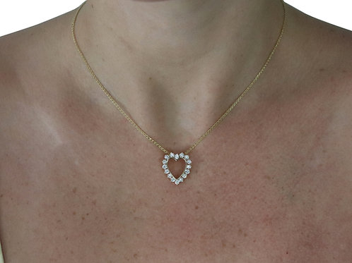 Diamond Heart Necklace - Yellow Gold