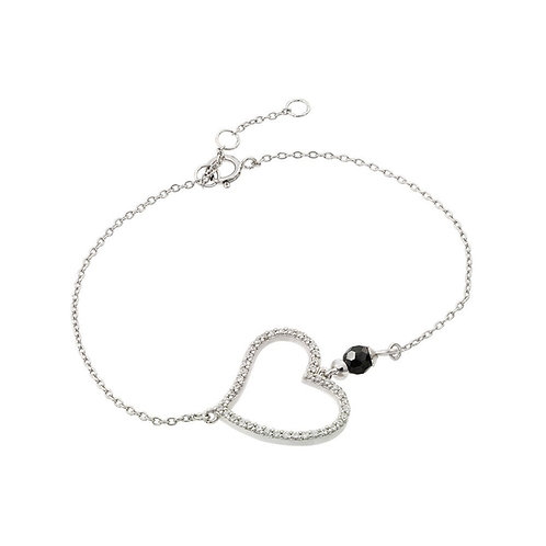 Heart Outline Clear Black CZ Bracelet