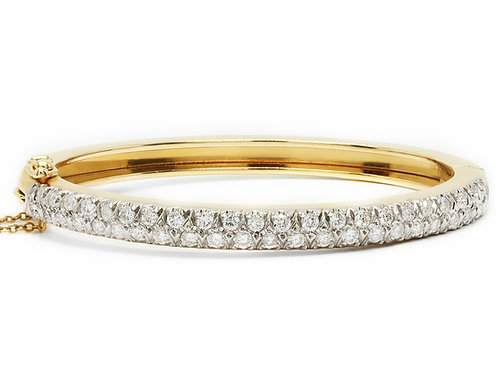 Two-Row Diamond Bangle Bracelet