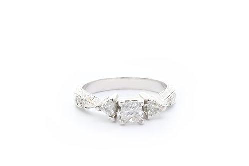 Princess-Cut Three Stone Trillion Engagement Ring