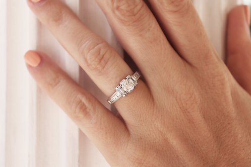 0.85ct Round-Cut Channel Princess & Baguette  Bridal Set