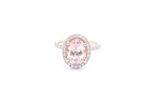 Oval Morganite Halo Ring