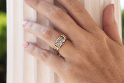 Hand-Engraved Vintage Inspired Invisible-Set Diamond Ring