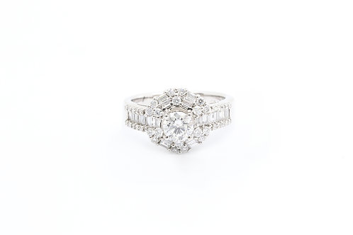 0.60ct Round Baguette Halo Engagement Ring