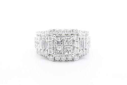 4ct Princess-Cut Quad Center Halo Baguette Diamond Ring