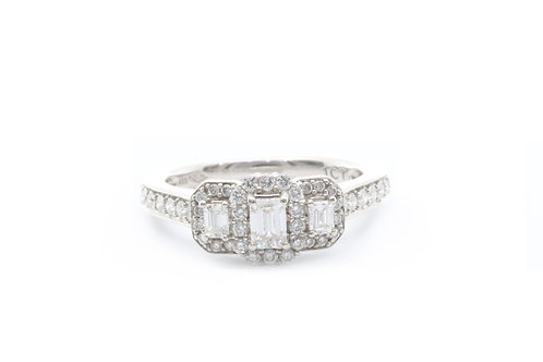 Emerald Cut Halo Three Stone Engagement Ring