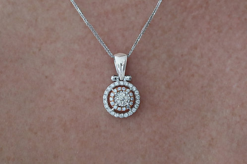 Round Double Halo Necklace