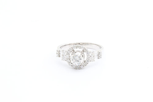 Round Halo With Side Baguettes Engagement Ring