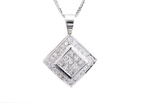 Invisible Set Square Halo Diamond Necklace