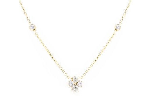 Diamond By The Yard Necklace - Flower Pendant