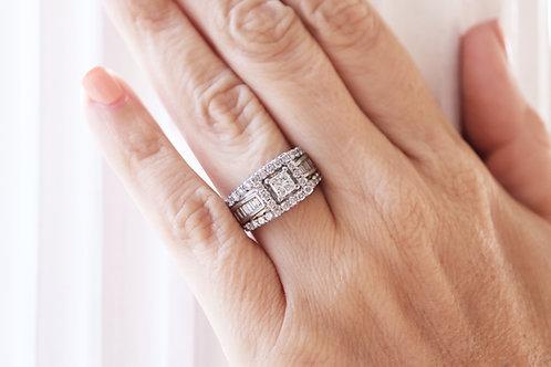 Princess Halo Baguette Engagement Ring
