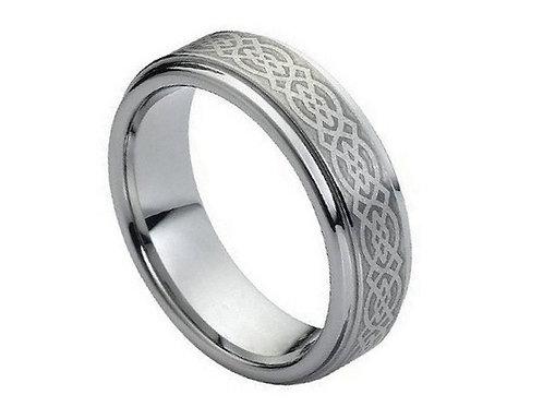 Brushed Laser Engraved Celtic Knot Pattern – 7mm