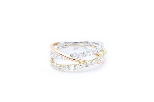 Tri-Tone Bypass Fashion Ring