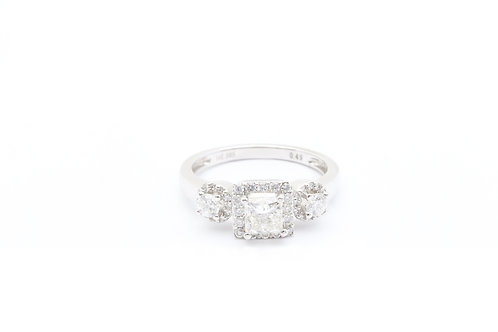 Princess Cut Halo Three Stone Engagement Ring