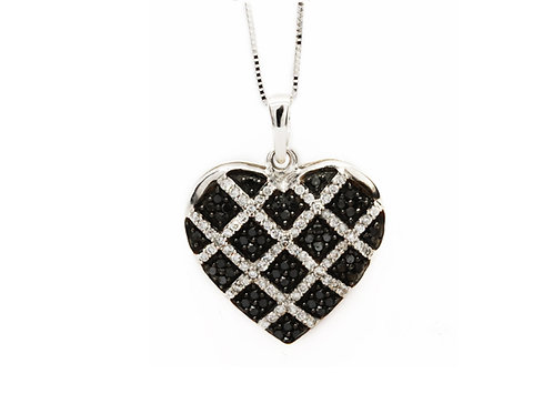 Checkered Black & White Diamond Heart Necklace