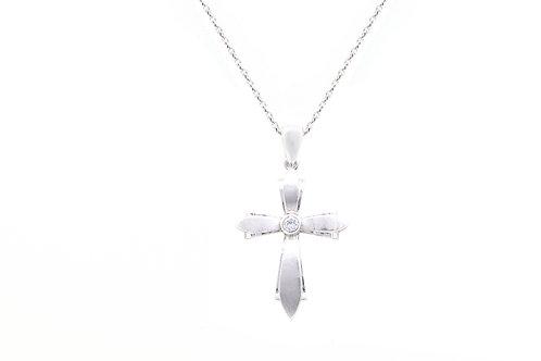 Matte Finish Solitaire Diamond Cross