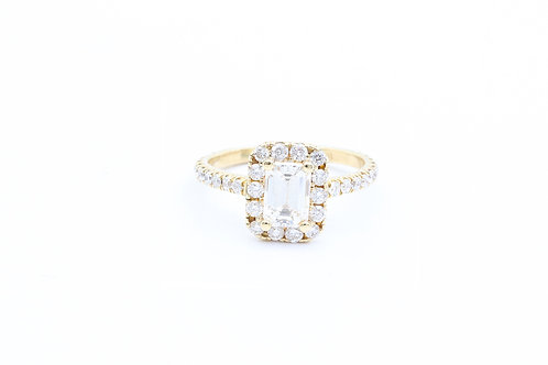 1.01ct Emerald Cut Halo Engagement Ring