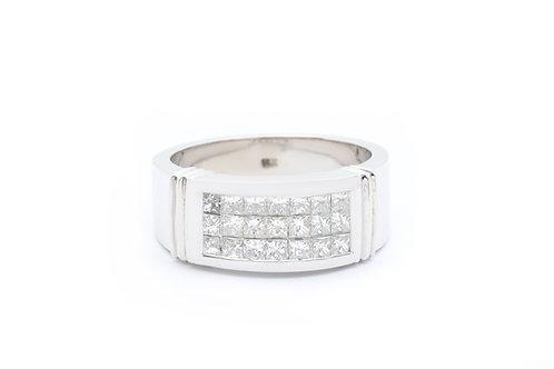 1.50ct Three Row Princess Cut Invisible-Set Diamond Band