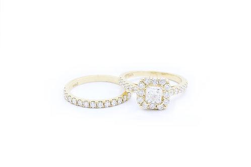 0.69ct Princess Cut Halo Bridal Set - 14k Yellow Gold