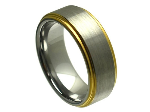 Ring Yellow Gold Tone IP Plated Edge – 8mm