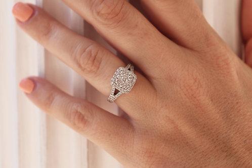 1ct Composite Diamond Cushion Halo Split Shank Ring