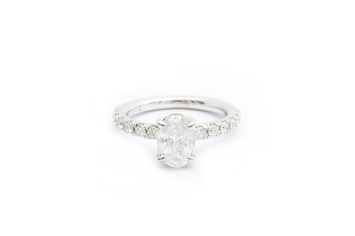 1.30ct Oval Hidden Halo Engagement Ring