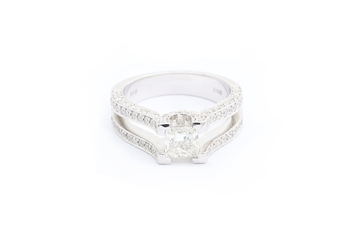 1.02ct Princess Cut Pave Engagement Ring