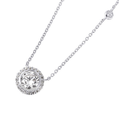 Round Halo CZ By The Yard Necklace