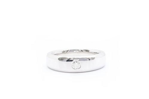 0.20ct Bezel-Set Diamond Solitaire Beveled Edge Band