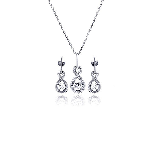 Infinity Dangling Stud Earring and Necklace Set