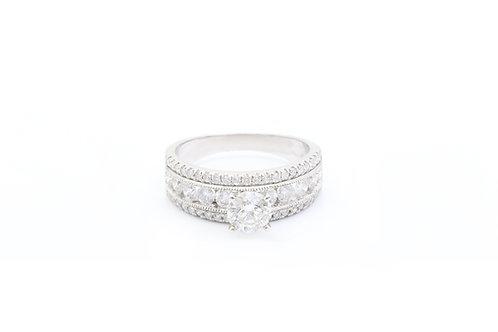 Round Cut Multirow Engagement Ring