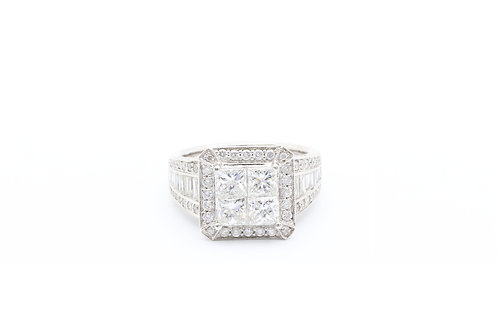 3.00 ct tw Quad Princess Vintage Halo Ring