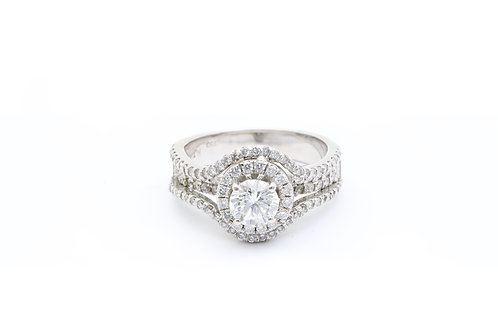0.92 ct Round Double Halo Engagement Ring
