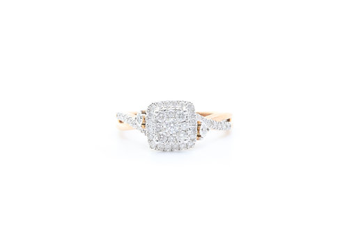 Composite Diamond Cushion Frame Split Shank Engagement Ring