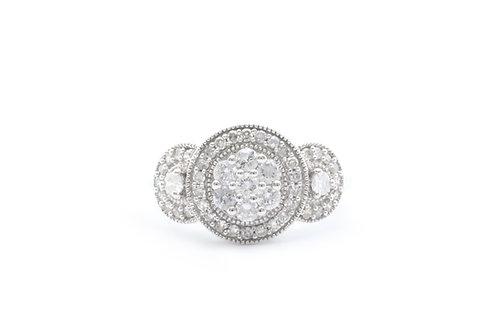 Composite Diamond Three Stone Halo Ring