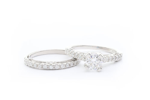 0.85ct Round Cut Bridal Set