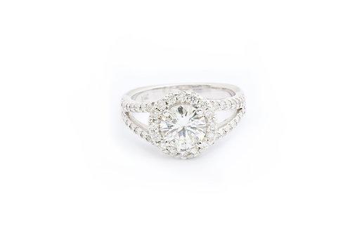 Round Split Shank Halo Engagement Ring