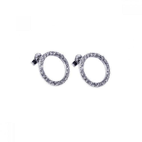 Ope Circle CZ Stud Earrings