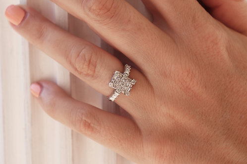 Rectangular Alternating Baguette & Round Invisible-Set Diamond Ring