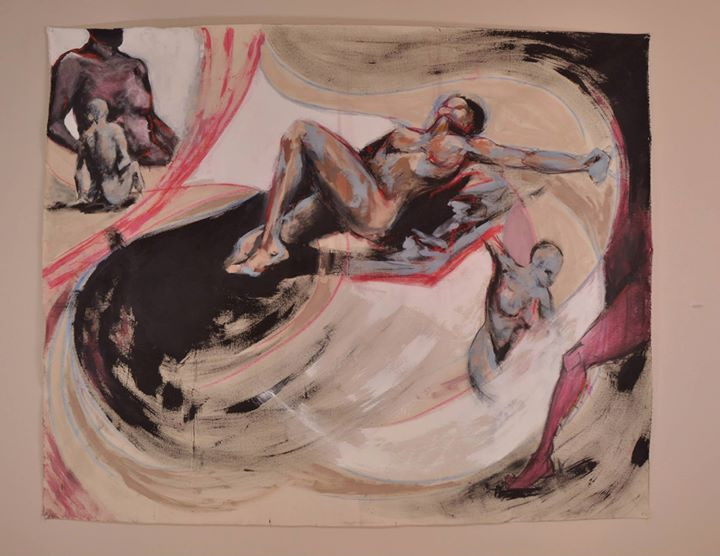 Snakes and Chains_acrylic, charcoal and