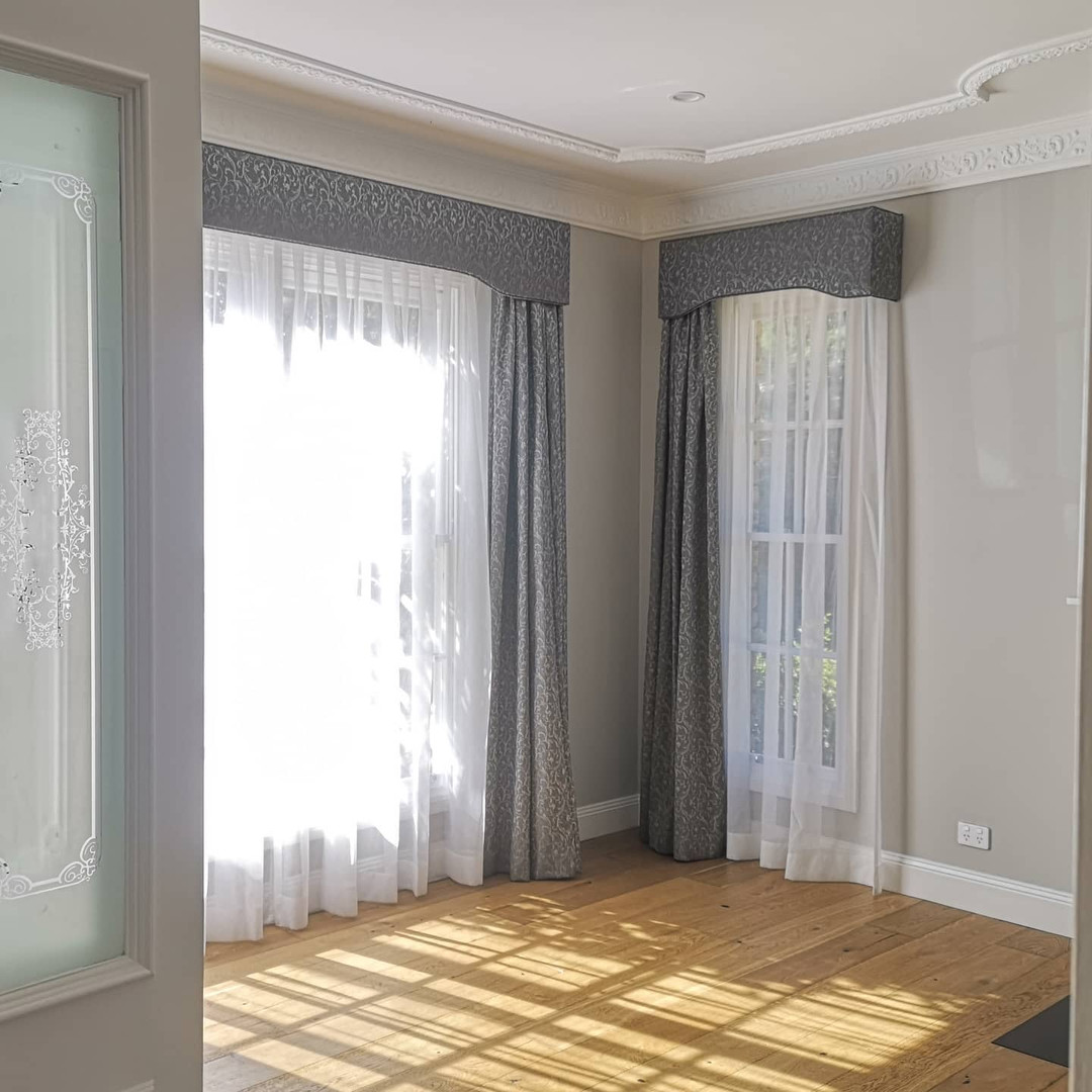 Sheer and 3 pass lined curtains with matching upholstered pelmet