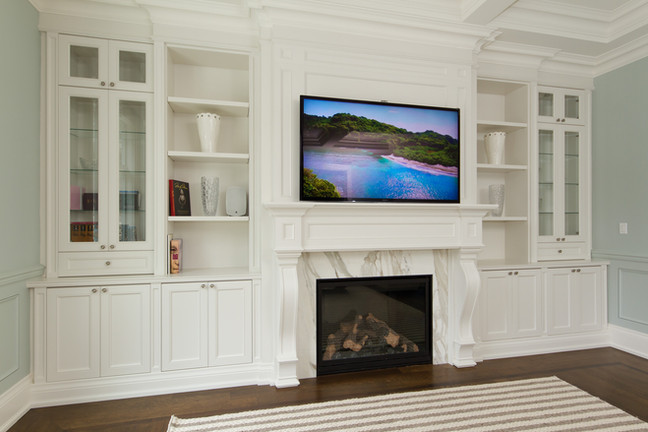 White Fire Place Wall Unit