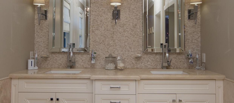 Double Sink Beige Vanity