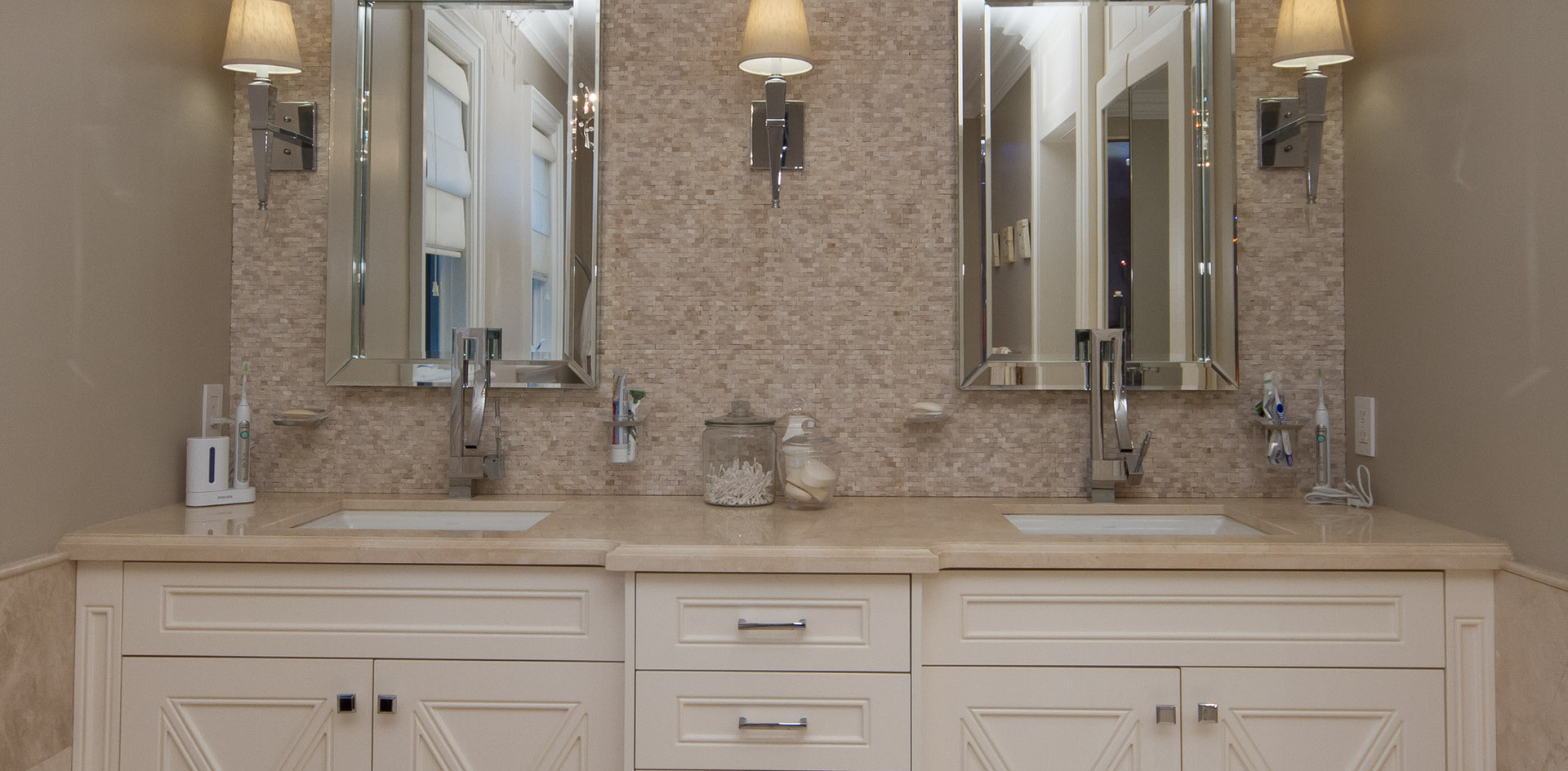 Double Sink Beige Vanity
