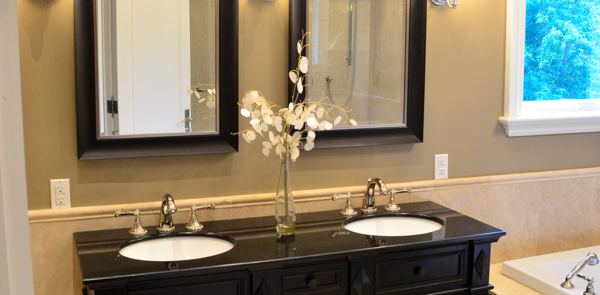 Dark Brown Double Sink Vanity