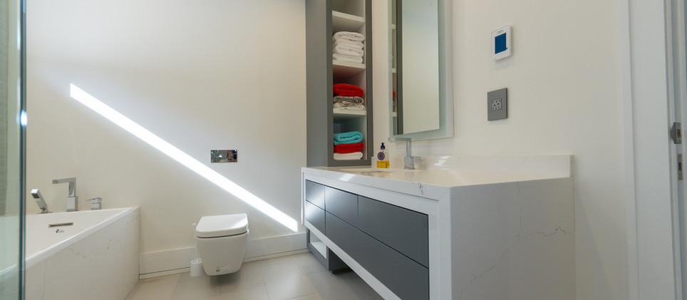 Modern White and Grey Bathroom