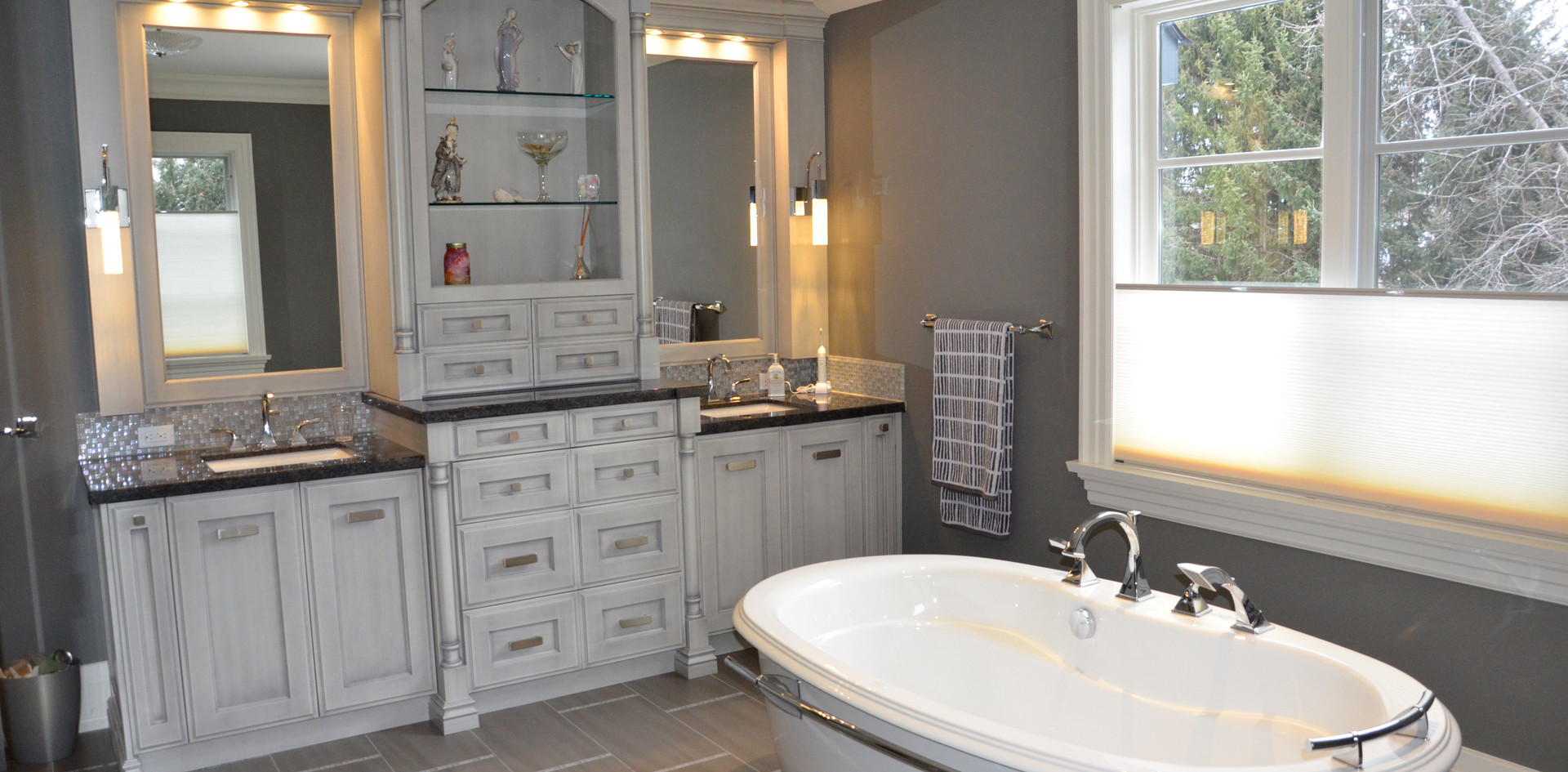 Double Sink Grey Vanity