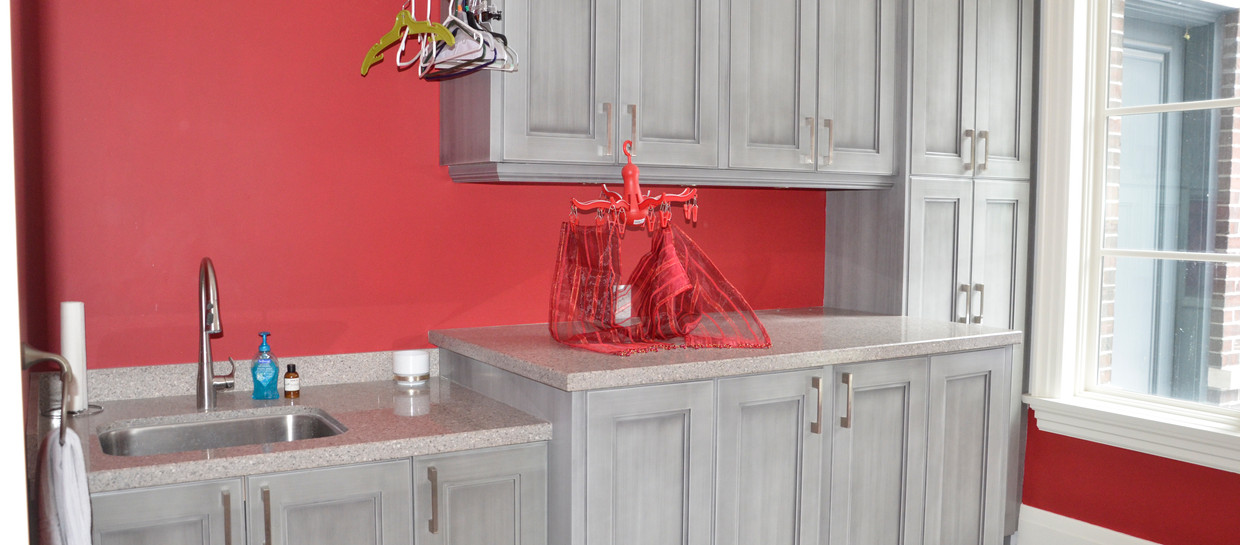 Red And Grey Laundry Room