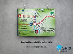 Oblikovanje zemljevid postajališč Občina Litija Trajnostna mobilnost SPIX Design